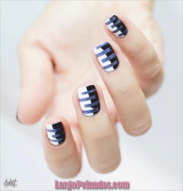 Diseños de uñas en blanco y negro (6)
