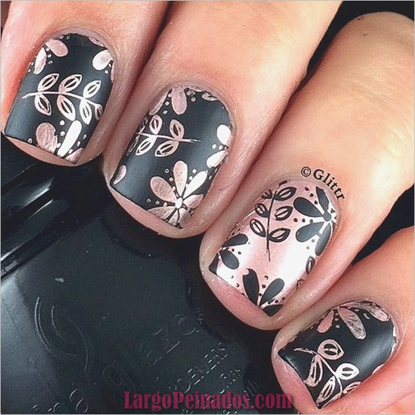lindos, rosados y negros, uñas, diseños, 4