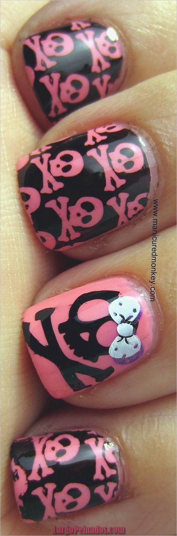 lindos rosados y negros diseños de uñas-19