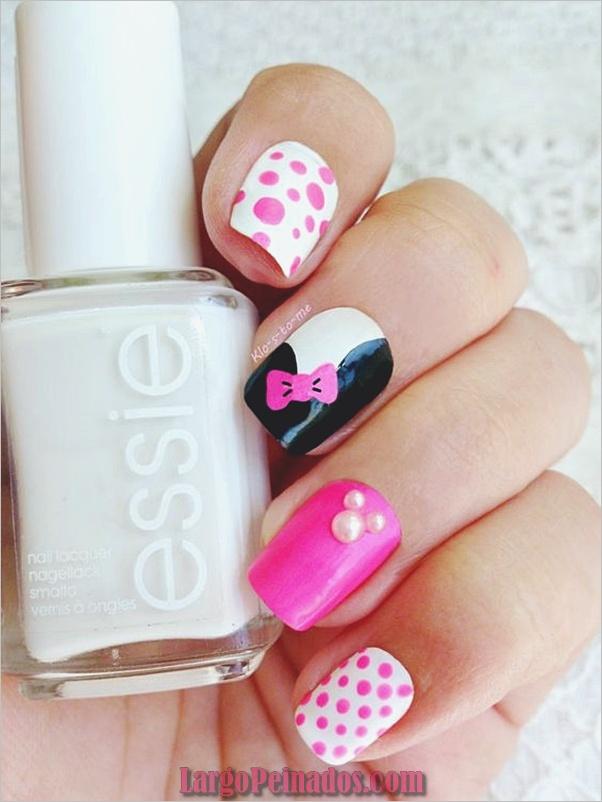 lindos, rosados y negros, uñas, diseños, 11