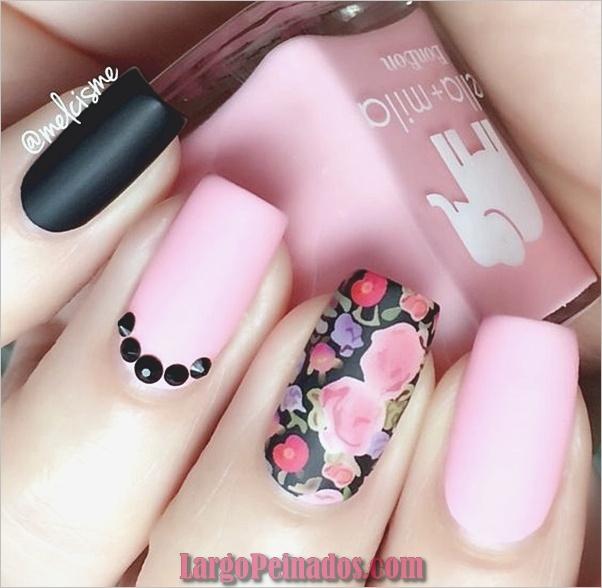 lindo-rosa-y-negro-uñas-diseños-5