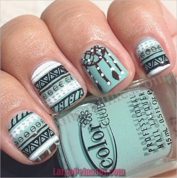 Ideas y diseños de arte de uñas azules (21)