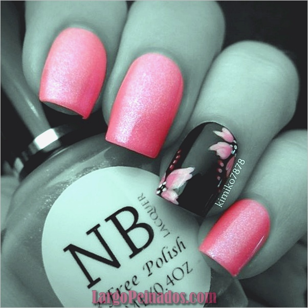 lindo-rosa-y-negro-uñas-diseños-1