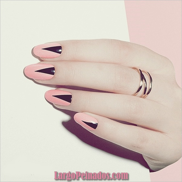 lindos, rosas y negro uñas diseños-9