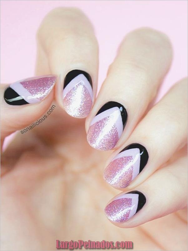 lindo-rosa-y-negro-uñas-diseños-12